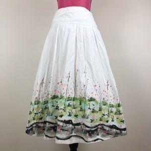 Covington White Spring Skirt A-Line Full Floral